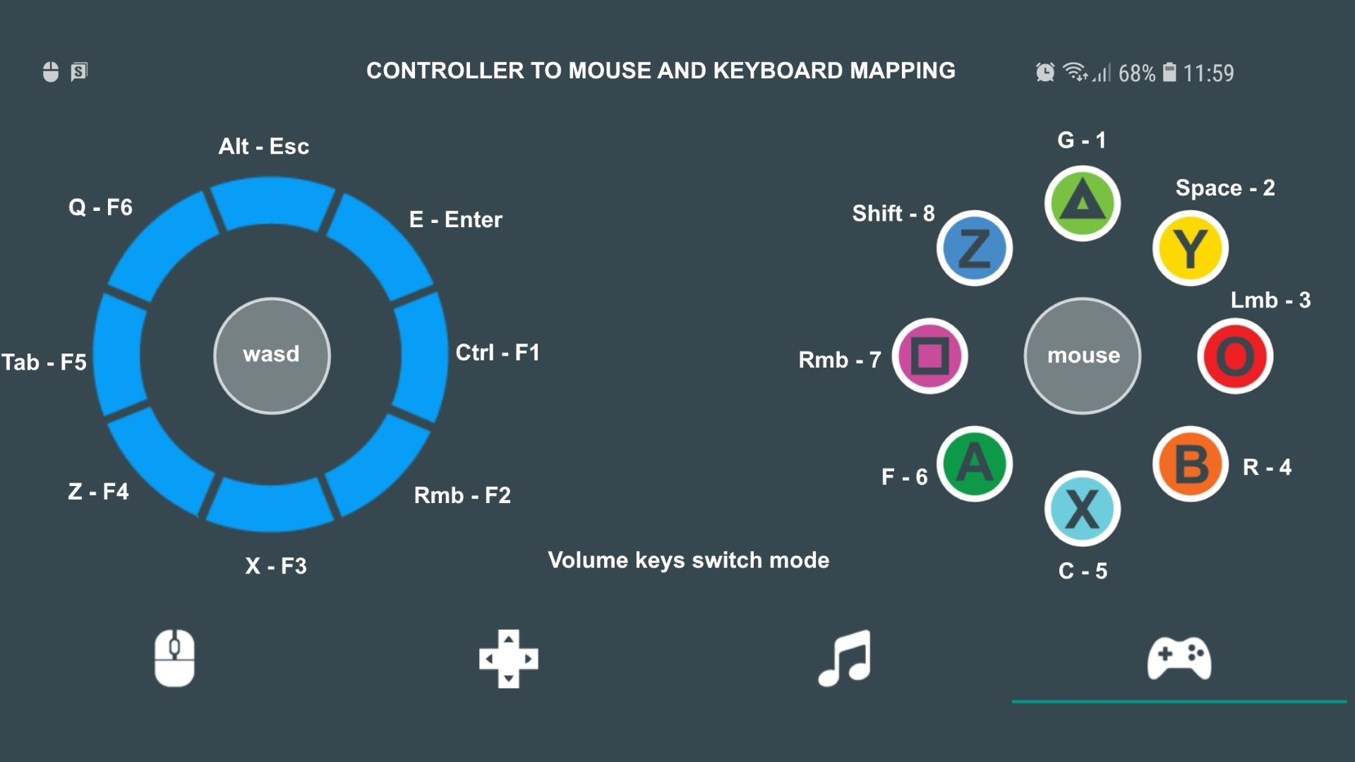 Controller to Mouse and keyboard Mapping